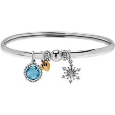 Lord & Taylor  and 14K Yellow Gold  Blue Topaz Charm Bangle ($175) ❤ liked on Polyvore featuring jewelry, sterling silver, snowflake jewelry, fine jewellery, yellow gold jewelry, lord taylor jewelry and gold fine jewelry