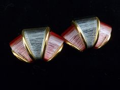 Vintage Art Deco Black and Red Glass Clip On Earrings, Vintage Gold Tone Clip on Earrings