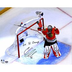 "Corey Crawford Chicago Blackhawks Fanatics Authentic Autographed 16"" x 20"" 2015 Stanley Cup Finals Celebration Photograph with 2x SC Champ Inscription - $189.99"