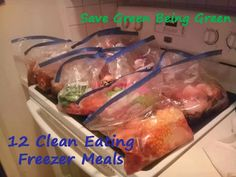 Save Green Being Green: Slow Cooker Saturday: Making 12 Clean Eating Slow Cooker Freezer Meals Slow Cooker Freezer Meals, Make Ahead Freezer Meals, Crock Pot Freezer, Crock Pot Slow Cooker, Freezer Cooking, Crock Pot Cooking, Slow Cooker Recipes, Crockpot Recipes, Dump Meals