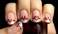 Heartbeat Valentines Nail Designs