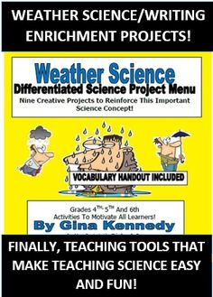 CHALLENGING, CREATIVE WEATHER ENRICHMENT WRITING AND RESEARCH PROJECTS! Your students will love integrating science and writing with these fun topics and projects! From creating a crazy factual forecast to graphing weekly weather trends, your students will be engaged and focused!  I've also included a weather vocabulary handout!