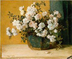 'Johannes Evert' Hendrik Akkeringa (Blinjoe (Nederlands-Indië) 1861-1942 Amersfoort) Bloemstilleven van trosrozen - Kunsthandel Simonis en Buunk, Ede (Nederland).