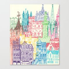 Edinburgh Towers Stretched Canvas by Cheism