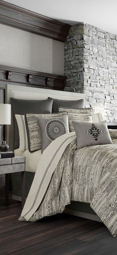 Queen Brandon Bedding has an abstract woven jacquard design. Rustic Quilts, Rustic Bedding, Southwestern Bedding, Luxury Cabin, Lodge Style, Rustic Contemporary, Cozy Cabin, Log Homes, Bedding Collections