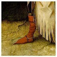 PIGACHO: Calzado de punta alargada que se anuda en la rodilla, usado en la edad media.