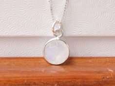 Rainbow moonstone necklace sterling silver with by SilverStamped