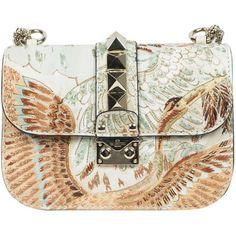Valentino Garavani Leather Lock bag with Japanese Bird embroidery (€1.950) ❤ liked on Polyvore featuring bags, handbags, purses, valentino, bolsas, multicolor, leather handbags, hand bags, studded leather handbags and valentino purses