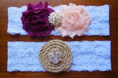 Garter Wedding Garter Blush Garter Burlap by BloomsandBlessings, $19.99