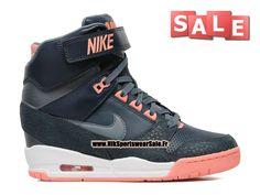 Nike Air Revolution Sky Hi GS - Chaussure Montante Nike Pas Cher Pour Femme Dark Bleu/Noir-Hyper Mango-Blanc 599410-400