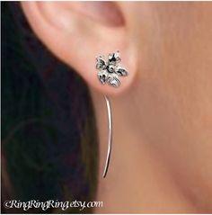 925 Long stem Saintpaulia flower earrings A pair by RingRingRing