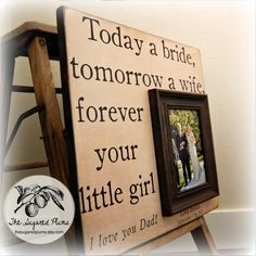 Father of the Bride Custom Wedding Gift Personalized Picture Frame 16x16 Father's Day idea