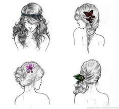 Find images and videos about hair, cool and girly on We Heart It - the app to get lost in what you love. Pretty Hairstyles, Girl Hairstyles, Wedding Hairstyles, Drawing Hairstyles, Style Hairstyle, Bohemian Hairstyles, Hairstyle Ideas, Bridesmaid Hairstyles, Simple Hairstyles