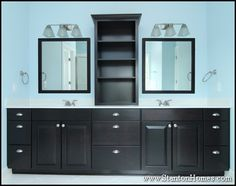 """""""His and her"""" vanity with open center shelving unit designed for hand towels and toiletries.    Larger bath towels will fit into the 24"""" wide stack of drawers located below the open shelves.    Rows of drawers provide maximum storage.     http://www.stantonhomes.com/CarwileCustomBath.aspx"""
