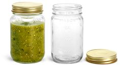 Glass Jars, 16 oz Flint Glass Mason Jars w/ Gold Metal Plastisol Lined Caps