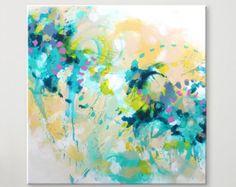 Große Malerei  Dies ist ein schönes Originalgemälde - erstellt im Jahr 2016.  Alle meine Bilder sind absolut einzigartig. Ich liebe die Arbeit mit Farben und deren Variationen. Die Farben bringen mir viel Inspiration. Meine Bilder sind 100 % handgefertigt, original-Kunstwerke. Ich arbeite nur mit qualitativ hochwertigen Materialien und professioneller Farben.  Technik: Acryl auf Leinwand Größe: 90 x 90  x 2 cm oder 35,4 x 35,4 x 0,78 Zoll Farben: Weiß, rosa, violett, grün  Alle meine Gemälde…