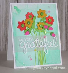 MFT distress ink flowers card by Nichol Magouirk.