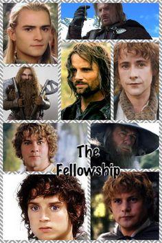 Legolas, Boromir, Gimli, Aragorn, Pippin, Merry, Gandalf, Frodo, and Sam (from left to right)