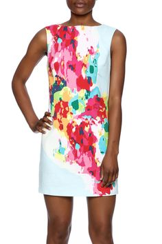 Splattered paint print dress in bright colors. The dress is a sleeveless shift with a back zipper.