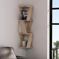 Wall Mounted Corner Shelves, Wood Wall Shelf, Glass Shelves, Diy Corner Shelf, Corner Shelf Design, Corner Wall Decor, Cool Shelves, Floating Shelves, Home Decor Styles