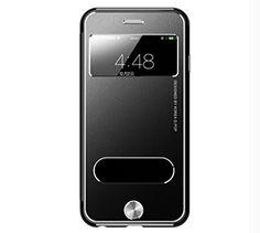 iPhone 6 / 6 PLUS ケース 4.7 / 5.5 インチ ケース 牛皮 本革 風 メタリックカラー ケース窓 通気性いい 薄型 アルミニウム おしゃれ ビジネス モデル 手帳型 ブック タイプ 横開き スタンド iPhone 6 ケース 4.7 5.5 インチ ケース case アイホン 6 TYEC-151028(ブラック4.7inch)