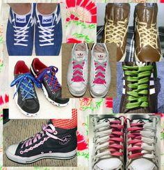 Different ways to tie shoelaces Ways To Tie Shoelaces, Ways To Lace Shoes, Bling Converse, Creative Shoes, Lace Art, Diy Braids, Baskets, Tie Shoes, Crazy Shoes