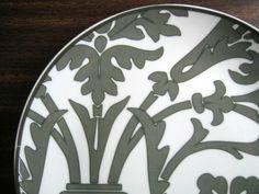Gray on White Damask Exotic Wallpaper Scroll Decorative Plate www.DecorativeDishes.net
