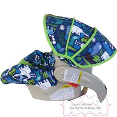 2D Zoo Navy with Jade Infant Carseat Cover by sewcuteinaz on Etsy, $65.00