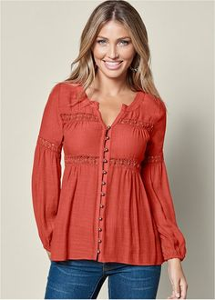 Order a sexy Burnt Orange Button Up Lace Inset Blouse from VENUS. Shop short sleeve tops, tanks, tees, blouses and more at an affordable price today! Frock Fashion, Fashion Dresses, Kurta Designs, Blouse Designs, Look Boho Chic, Smart Casual Women, Bohemian Blouses, Colored Skinny Jeans, Modelos Fashion