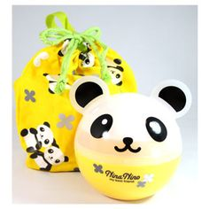 Nina Nino PANDA Ball Shaped 2 Tier Bento Box with Kinchaku Bag