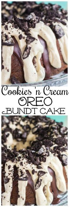 This Cookies 'n Cream Oreo Bundt Cake recipe features a milk chocolate bundt cake stuffed with Oreo cookies, and topped with chocolate ganache and cookies 'n cream pudding frosting! It's as easy as ca (Bundt Cake Recipes) Brownie Desserts, Mini Desserts, Just Desserts, Delicious Desserts, Easter Desserts, Fall Desserts, Pound Cake Recipes, Easy Cake Recipes, Baking Recipes