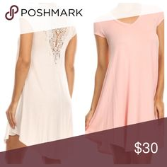 Off white lace back dress Gorgeous lace trim swing off white dress PLEASE USE Poshmark new option you can purchase and it will give you the option to pick the size you want ( all sizes are available) BUNDLE And SAVE 10% ( sizes updated daily ) Dresses