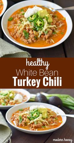 ground turkey tacos White Bean Turkey Chili is a healthy, nutritious soup made with lean protein, vegetables, and broth. Flavorful and delicious chili made in less than 30 minutes. Ground Turkey Chili, Healthy Ground Turkey, Healthy Turkey Chili, Soup With Ground Turkey, Crockpot Turkey Chili, Chilli Recipes, Soup Recipes, Dinner Recipes, Healthy Chili Recipes