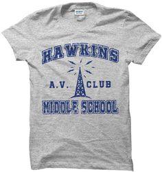 Stranger Things Shirt T-Shirt Hawkins Middle School AV Club Costume Apparel