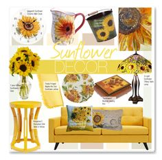 """""""Sunflower Decor"""" by kusja ❤ liked on Polyvore featuring interior, interiors, interior design, home, home decor, interior decorating, Dot & Bo, Spigarelli Ceramiche, Bungalow 5 and Forzieri"""