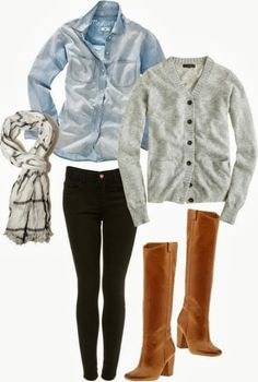 cardi, denim shirt, skinnies, and tall boot. don't forget the scarf <3
