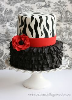 Birthday Cake Photos - I made this for a friends 40 th Birthday. The ruffles were done using the Cel Stick and I hand painted the Zebra stripe using straight black gel color. More details on my Blog. Thanks for looking!