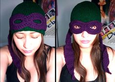 Ninja Turtle beanie - Someone has to make me this. I cannot do whatever it is that I have to do to make this but I want it!