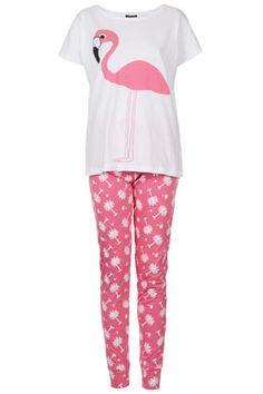 Ensemble pyjama avec t-shirt flamant rose et legging so crazy!!!