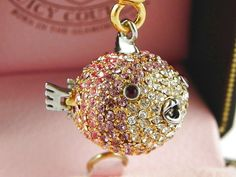 JUICY COUTURE PINK CRYSTAL BLOW FISH BRACELET CHARM | eBay