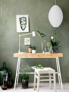 Sage green walls with desk and chair Ikea Design, Ikea Workspace, Ikea Office, Ikea Wood Desk, Office Decor, Bedroom Workspace, Workspace Design, Office Ideas, Home Office Design