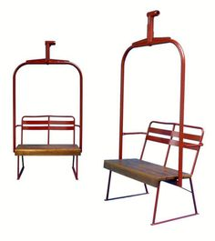 """Ski Lift Chair - Red Chairlift New 21st century Ash Wood, Metal 82""""l x 43""""w x 24""""d © Vintage Winter The classic two person chairlift is a perfect complement to any ski enthusiast's home decor. Feature"""