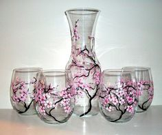 Spring Wedding Cherry Blossoms Handpainted  Stemless Wine Glasses and Carafe,Decanter--5 Piece Collection Wedding,Anniversary,Gift on Etsy, $161.17