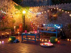 Farol Marbella architecture exterior design patio terrace backyard fairy lights … - All About Decoration Design Patio, Terrace Design, Exterior Design, Cafe Seating, Patio Seating, Terraced Backyard, Backyard Patio, Bohemian Patio, Bohemian Design
