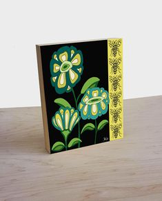 Artist Shanni Welsh's Art Deco Floral and Bee art panel. Black, teal and yellow flowers with bee. Ready to hang botanical panel. Mid century floral and bumble bee.