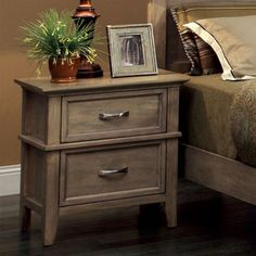 Furniture of America Tarpa Collection 2 Drawer Nightstand - Weathered Oak - IDF-7351N
