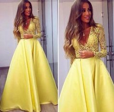 Stunning Yellow Long Sleeve 2017 Prom Dress V-Neck Lace