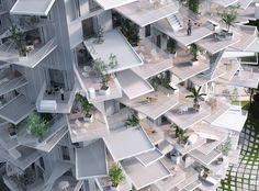 Housing Arbre blanc à Montpellier. Manal Rachdi Oxo architects+ Sou Fujimoto architects + Nicolas Laisne associés.