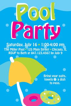 Items Similar To Pool Swim Party Birthday Invitation On Etsy