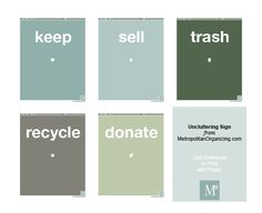 "Printable ""bin labels"" for organizing!!!! This is perfect for Home Organization 101 participants. Print these out and tape them to laundry baskets while purging & decluttering."